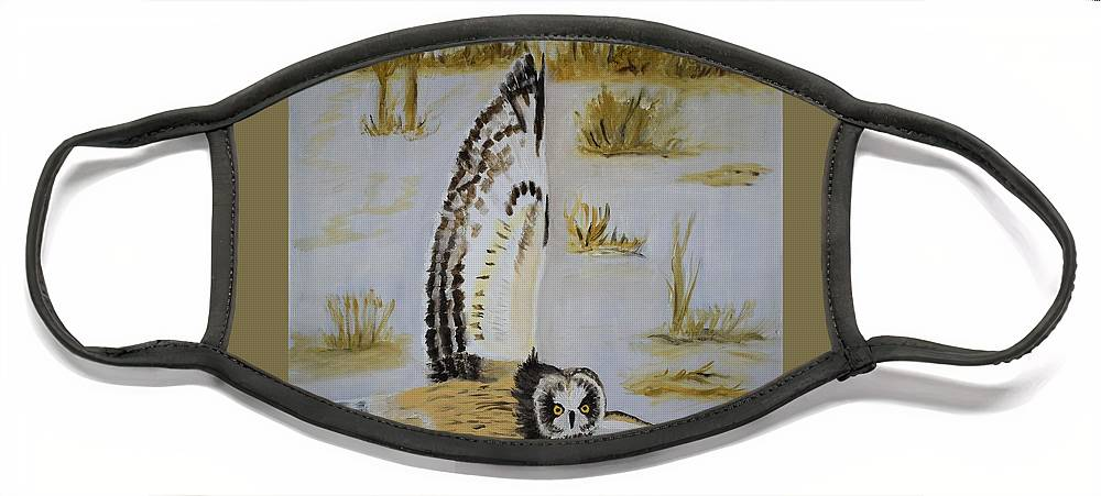 Owl Face Mask featuring the painting Hunting Owl by Charla Van Vlack