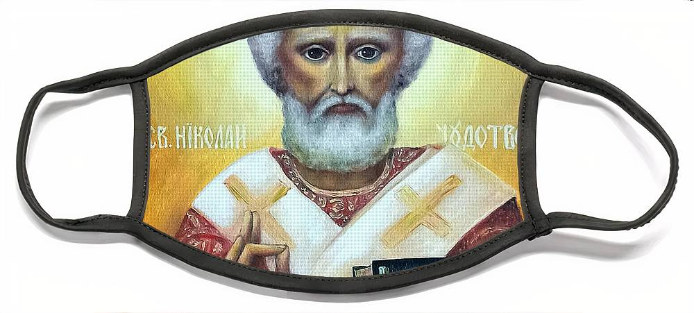 Religion Face Mask featuring the painting icon of St Nicholas the Wonderworker by Natalja Picugina
