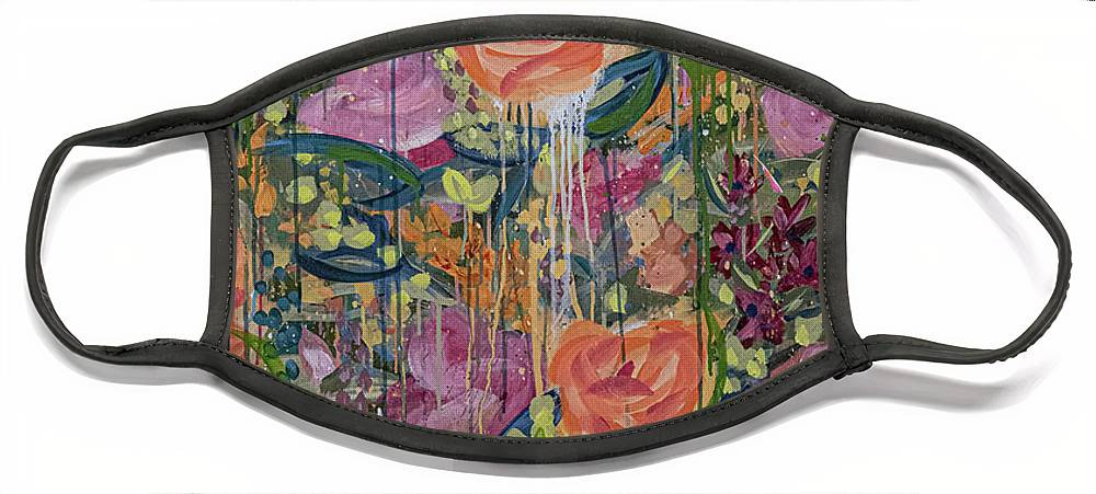 English Garden Face Mask featuring the painting In The Garden by Amanda Armstrong