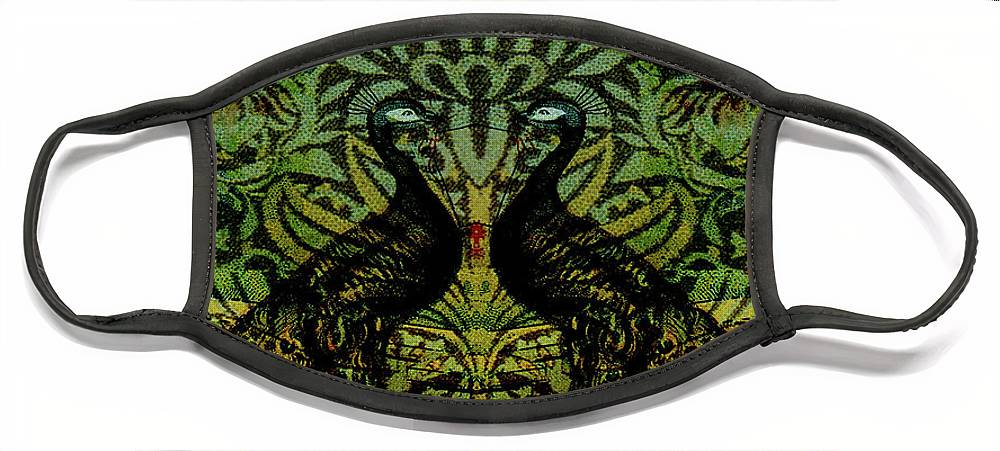 Peafowls Face Mask featuring the digital art Indian Blue Peafowl Pattern by Sarah Vernon