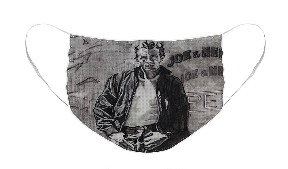 Charcoal On Paper Face Mask featuring the drawing James Dean by Sean Connolly