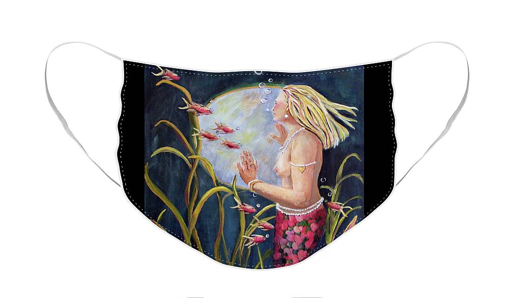 Mermaid Face Mask featuring the painting Just Looking by Linda Queally
