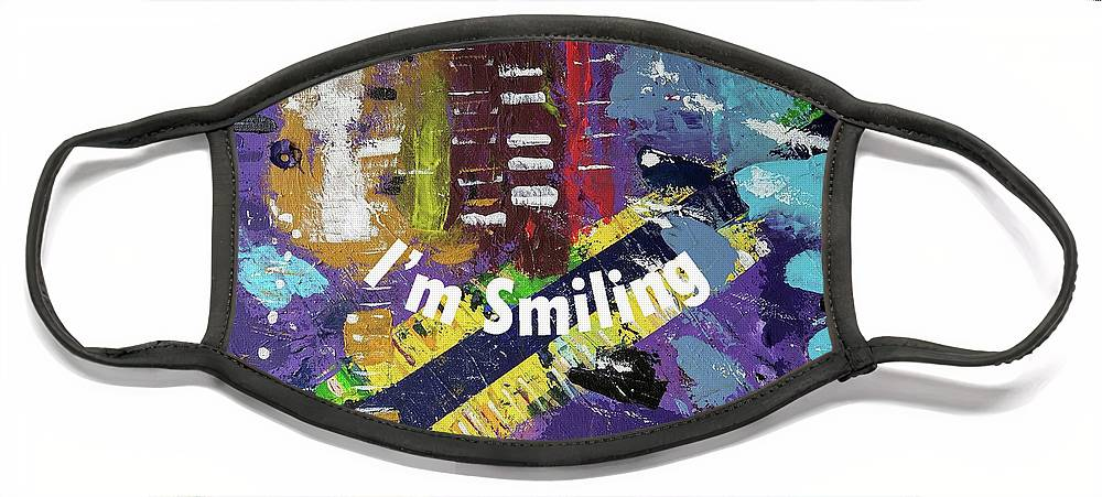 Purple Face Mask featuring the digital art Mask version of Just Smiling by Pam Roth O'Mara