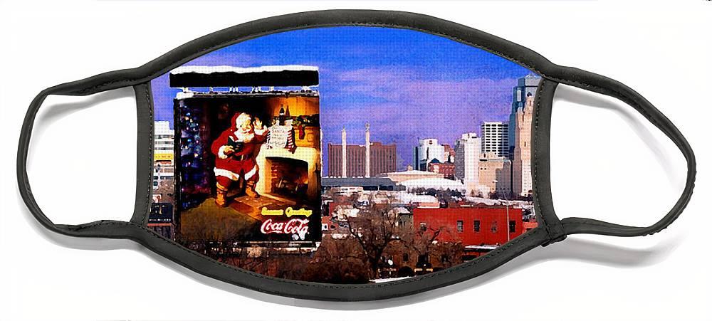 City Face Mask featuring the photograph Kansas City Skyline at Christmas by Steve Karol