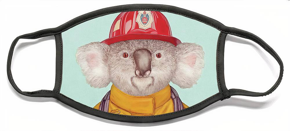 Face Mask featuring the painting Koala Firefighter by Animal Crew