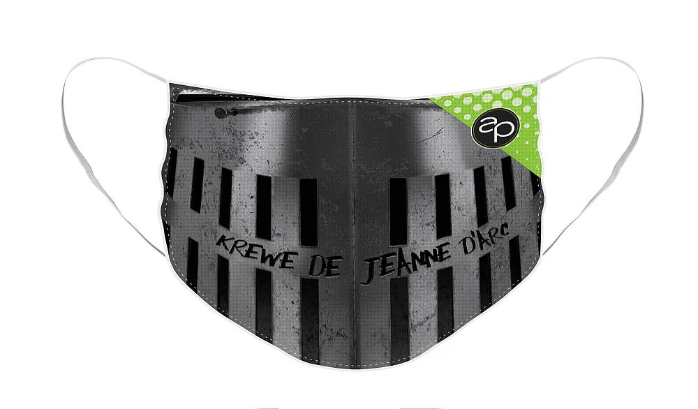 New Orleans Face Mask featuring the digital art Krewe de Jeanne d'Arc by Art of the Parade Society