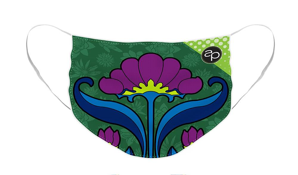 Krewe Des Fleurs Face Mask featuring the digital art Krewe des Fleurs by Art of the Parade Society
