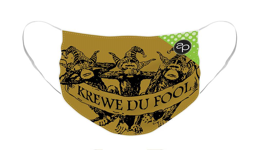 Krewe Du Fool Face Mask featuring the digital art Krewe du Fool by Art of the Parade Society
