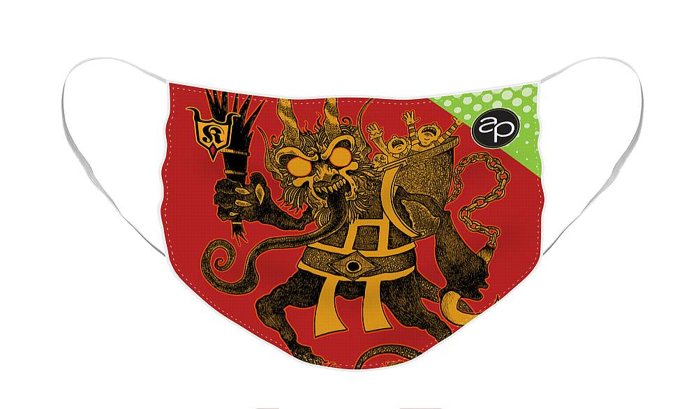 Krampus Face Mask featuring the digital art Krewe of Krampus by Art of the Parade Society