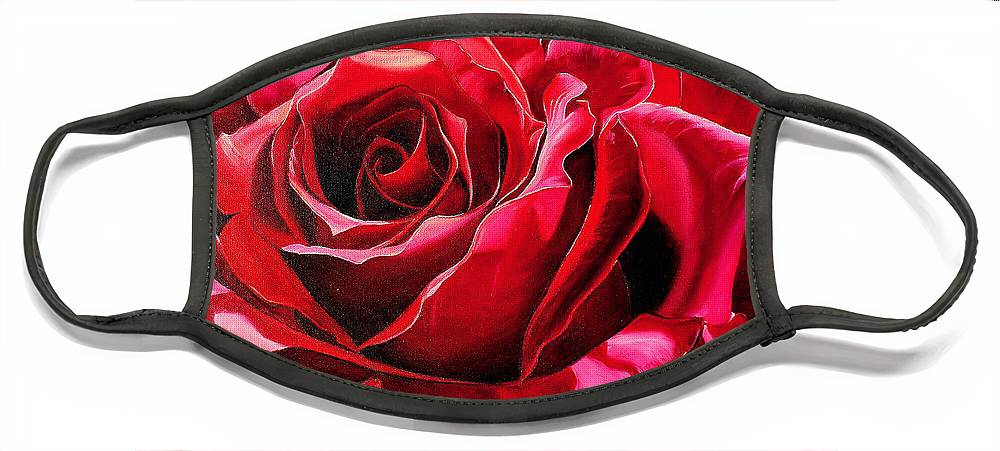 Rose Painting Face Mask featuring the painting Labelle Rose    by Karin Dawn Kelshall- Best
