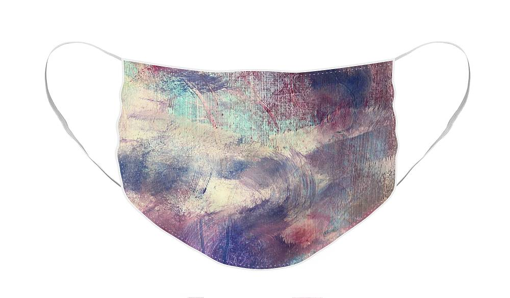 Abstract Face Mask featuring the painting Lavender Fields by Carolyn Rhinebarger