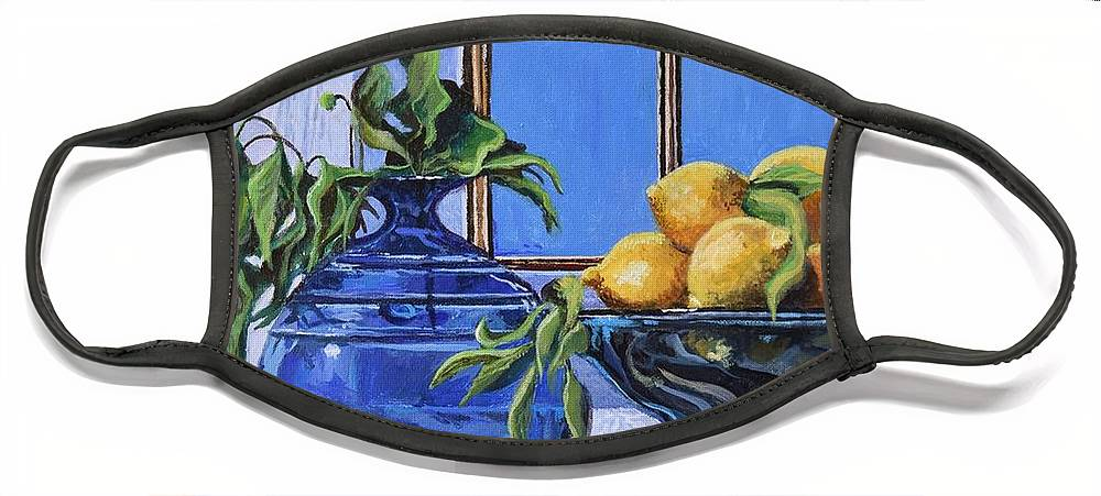 Original Painting Face Mask featuring the painting Lemons by Sinisa Saratlic