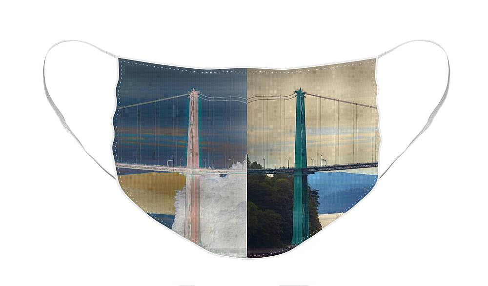 Lions Gate Bridge Face Mask featuring the photograph Lions Gate Reflection by Mike Braun