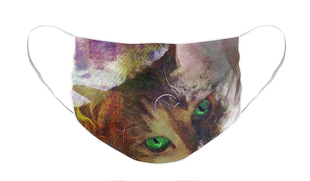Lisa Beckons Face Mask featuring the digital art Lisa Beckons by John Robert Beck