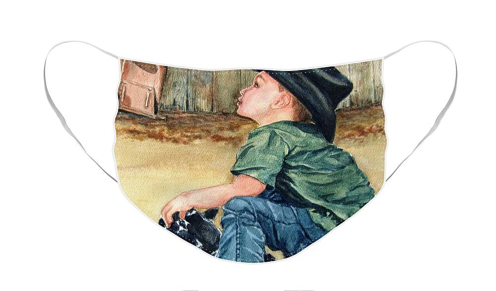 Children Face Mask featuring the painting Little Ranchhand by Karen Ilari