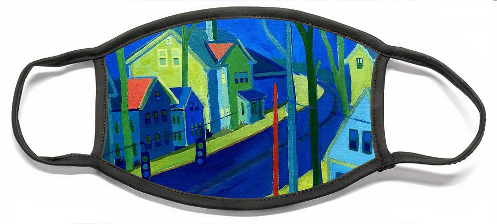 Cityscape Face Mask featuring the painting Lowell Deluge by Debra Bretton Robinson