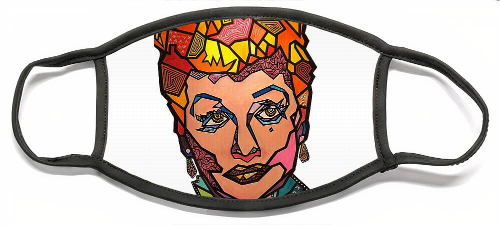 Ilovelucy Face Mask featuring the painting Lucy in Our Sky by Marconi Calindas