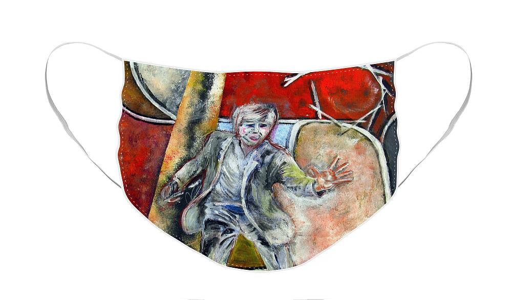 Male Face Mask featuring the painting Mad World by Tom Conway