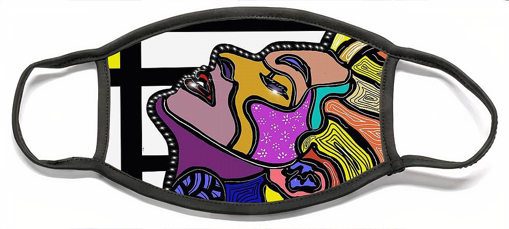 Madonna Face Mask featuring the digital art Marconi-Drian #1.2 - True Blue by Marconi Calindas