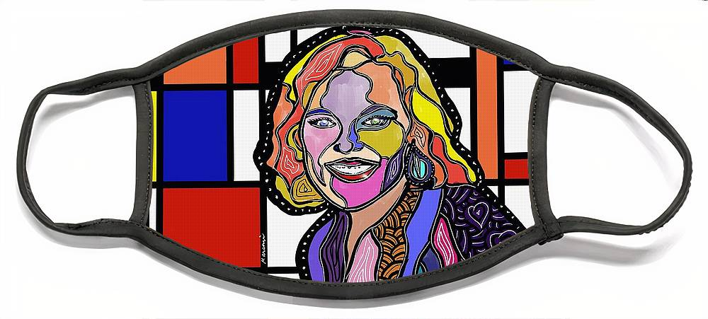 Commission Art Face Mask featuring the digital art Margot by Marconi Calindas