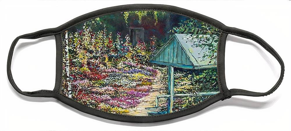 Garden Face Mask featuring the painting Mary's Garden by Sinisa Saratlic