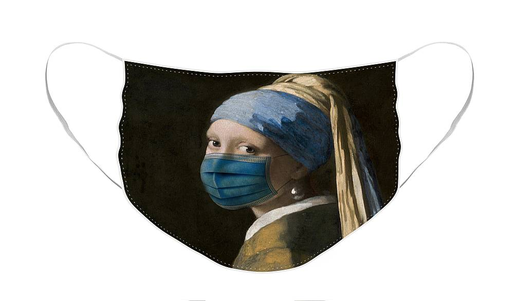 Coronavirus Face Mask featuring the digital art Masked Girl with a Pearl Earring by Nikki Marie Smith