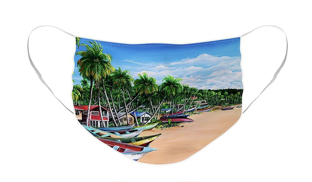 Mayaro Beach Face Mask featuring the painting Mayaro Fishing Village by Karin Dawn Kelshall- Best
