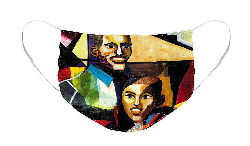 Everett Spruill Face Mask featuring the painting Me and Dad by Everett Spruill