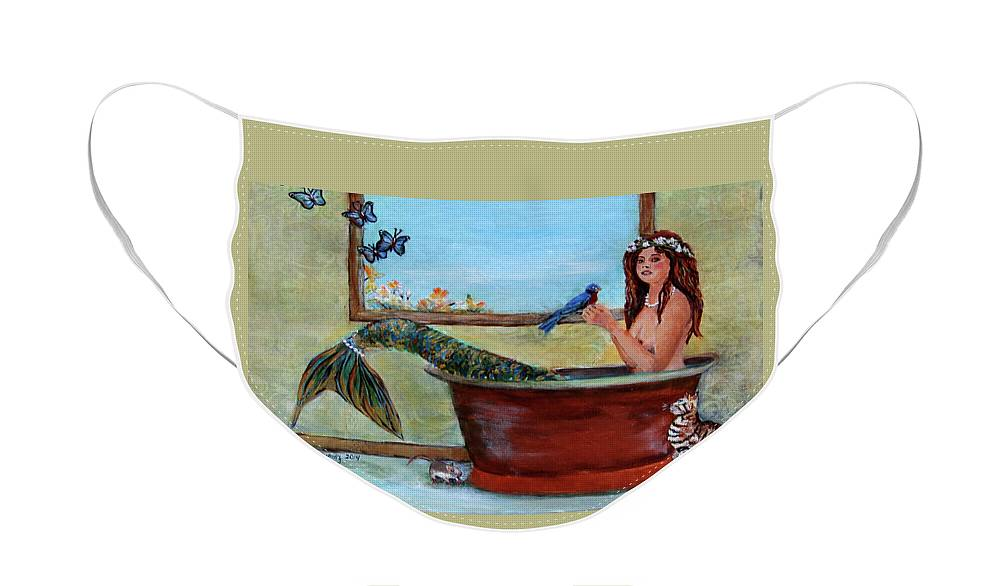Mermaid Face Mask featuring the painting Mermaid in Bathtub Spring Mermaid Painting by Linda Queally by Linda Queally