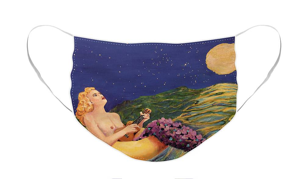 Mermaid Face Mask featuring the painting Mermaid in Inner Tube Playing Ukulele by Linda Queally by Linda Queally