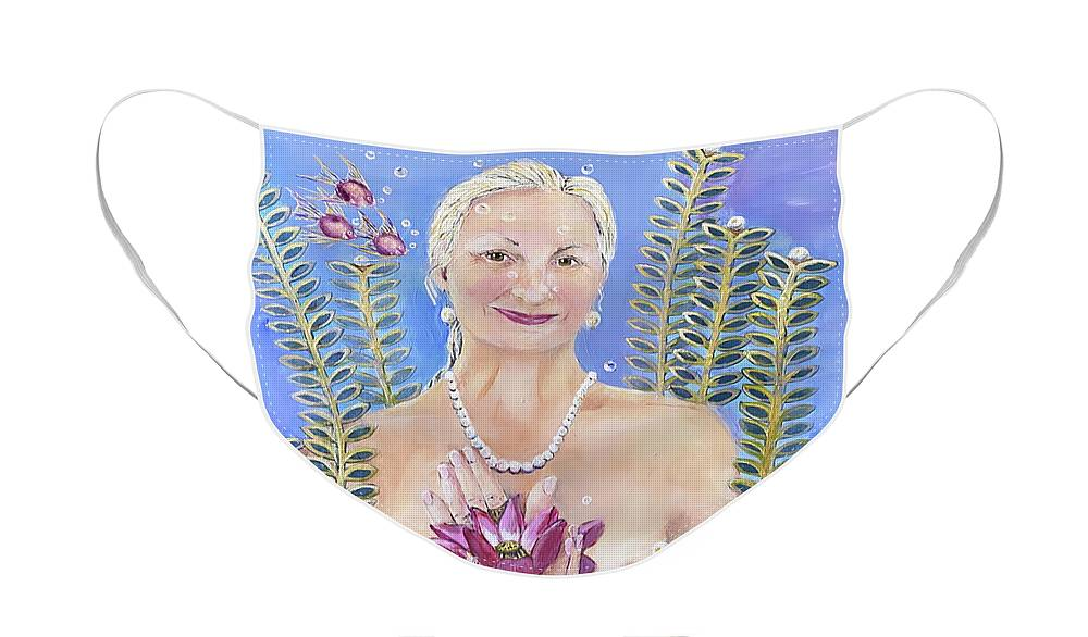 Mermaid Face Mask featuring the painting Mermaid with Pink Lotus by Linda Queally