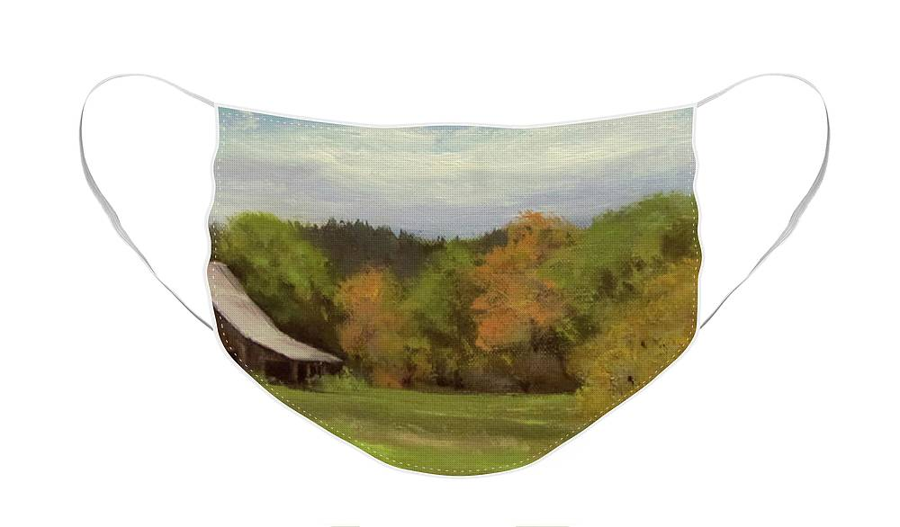 Barn Face Mask featuring the painting Mildred Kanipe Equestrian Park by Karen Ilari