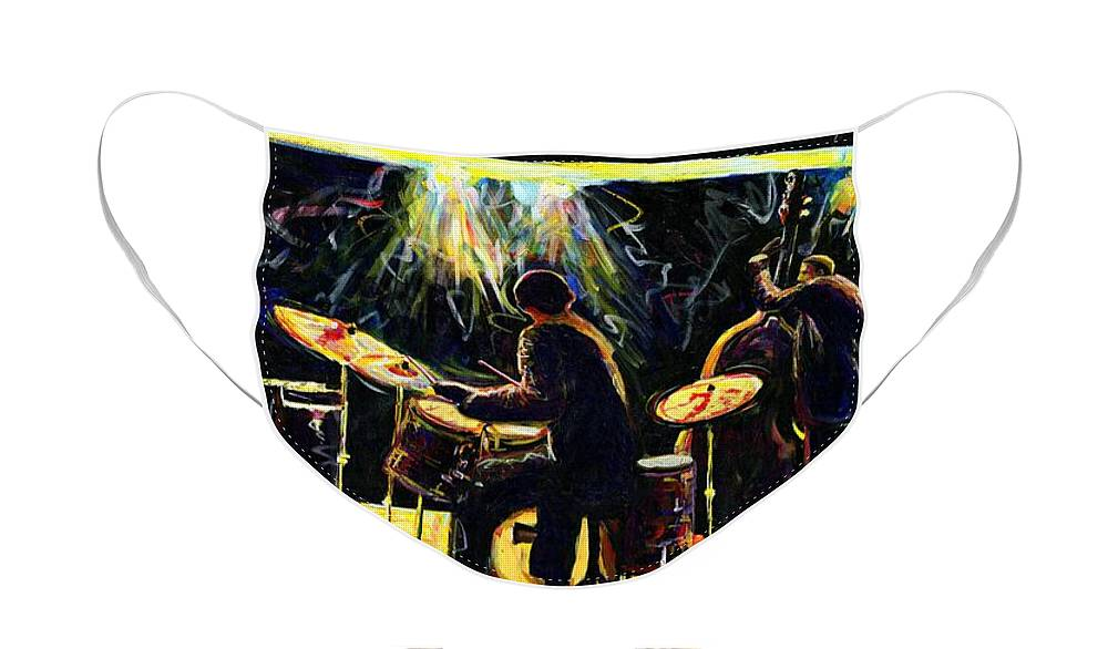 Everett Spruill Face Mask featuring the painting Modern Jazz Quartet take2 by Everett Spruill
