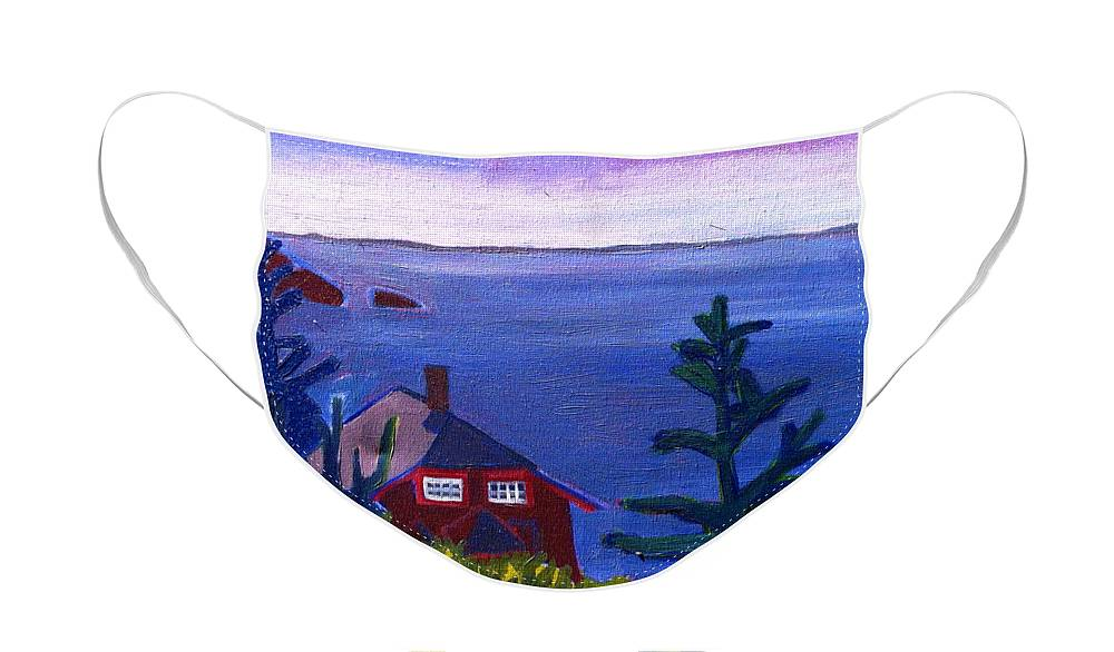 Beach Face Mask featuring the painting Monhegan Late Afternoon by Debra Bretton Robinson