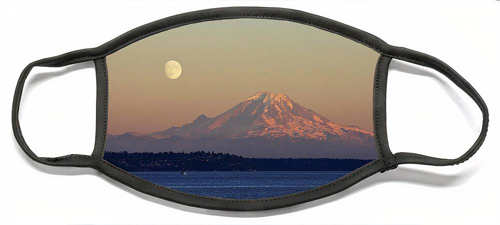 3scape Face Mask featuring the photograph Moon Over Rainier by Adam Romanowicz