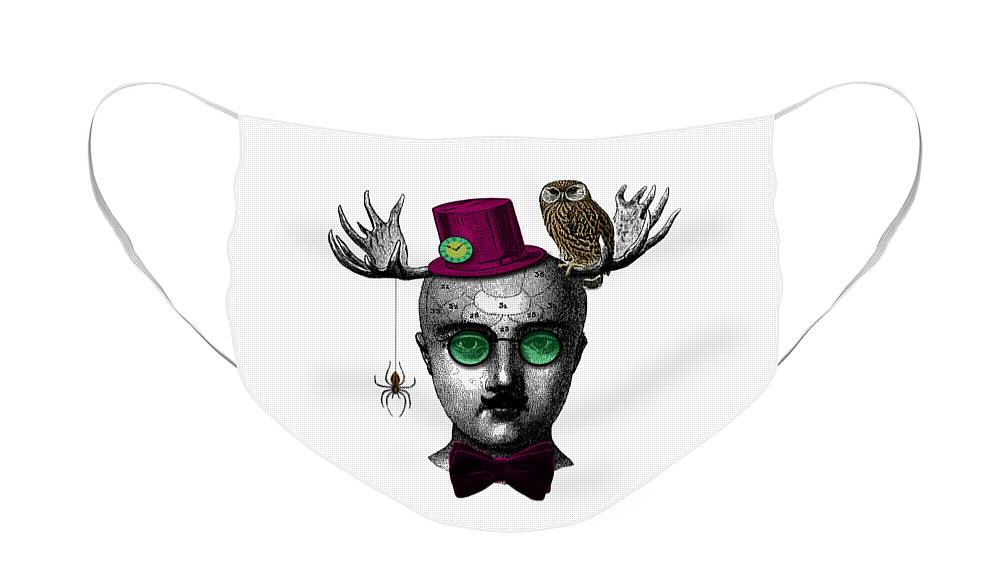 Wizard Face Mask featuring the digital art Moose magician by Madame Memento
