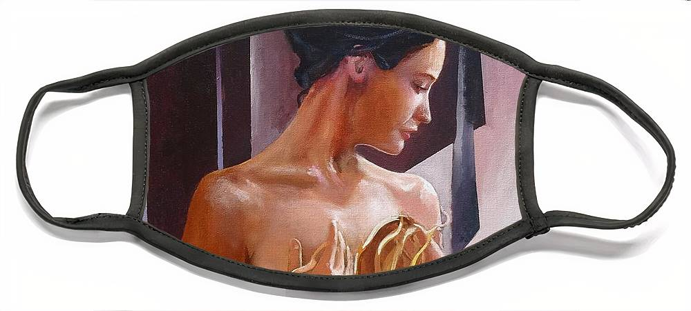 Female Figure Face Mask featuring the painting Morning Beauty by Sinisa Saratlic