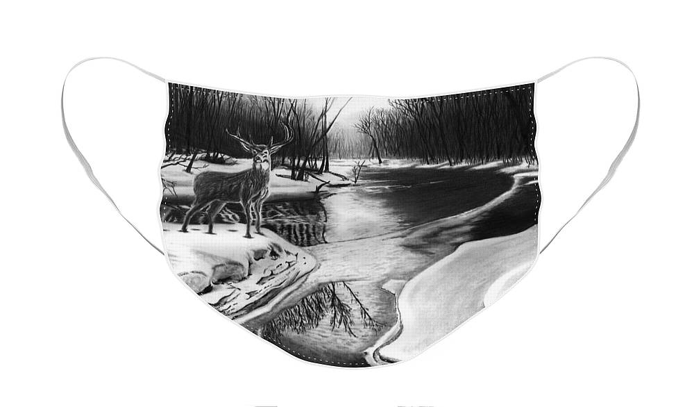 Morning Thaw Face Mask featuring the drawing Morning Thaw by Peter Piatt
