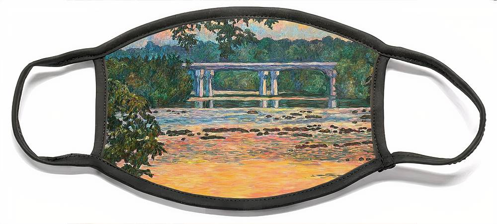 Landscape Face Mask featuring the painting New Memorial Bridge at Dusk by Kendall Kessler