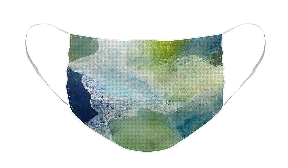 Abstract Face Mask featuring the painting Night Skies by Carolyn Rhinebarger