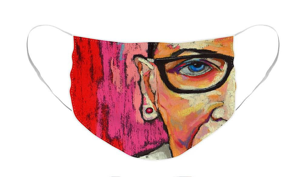 Ruth Face Mask featuring the painting Notorius RBG by David Hinds