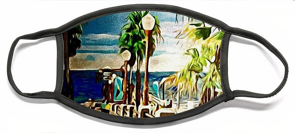 Landscape Face Mask featuring the painting Oceanside Peir by Andrew Johnson