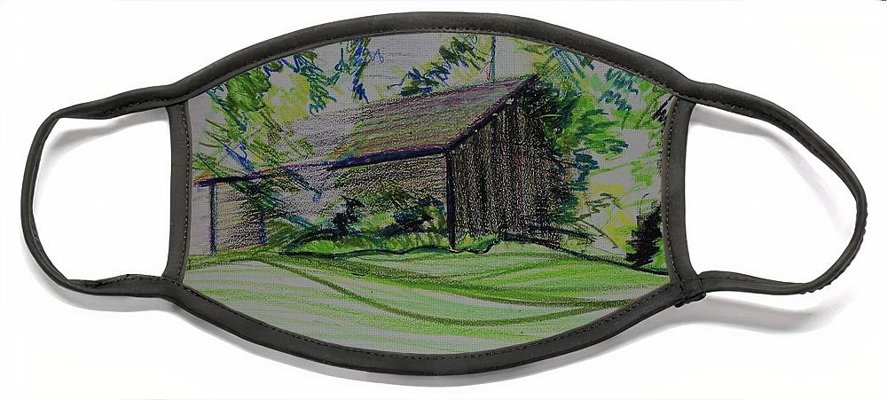 Plein Air Face Mask featuring the pastel Old Barn At Wason Pond by Sean Connolly