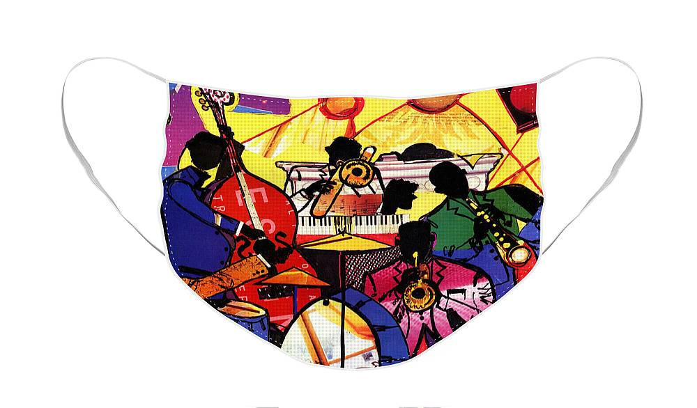 Everett Spruill Face Mask featuring the painting Old School Jazz by Everett Spruill