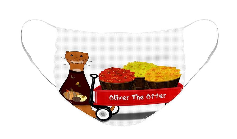 Halloween Face Mask featuring the digital art Oliver The Otter Gets Ready For Autumn by Colleen Cornelius