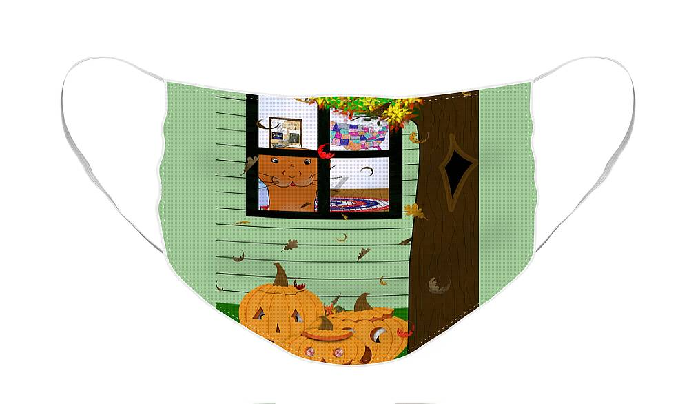 Halloween Face Mask featuring the photograph Oliver The Otter Looking at Jack-o-Lanterns Out his Bedroom Window by Colleen Cornelius