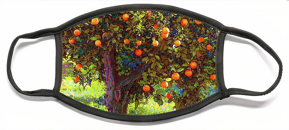 Landscape Face Mask featuring the painting Orange Fruit Tree by Jane Small