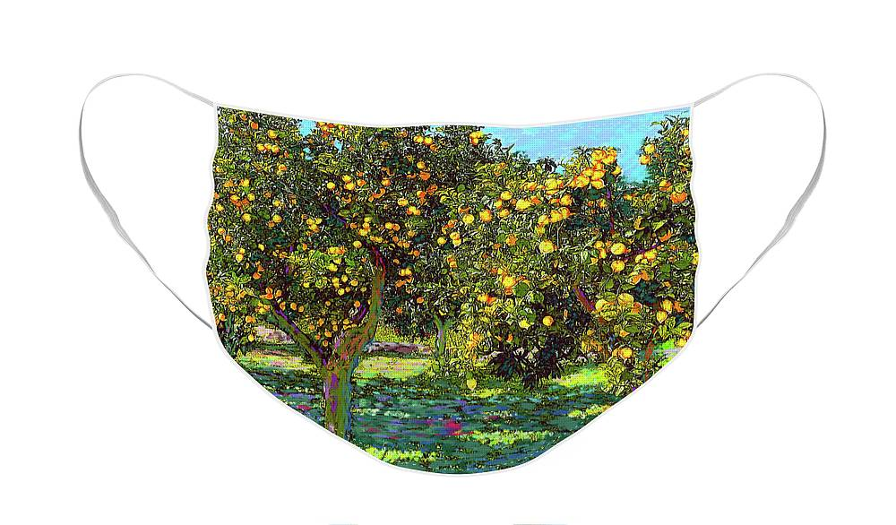 Landscape Face Mask featuring the painting Orchard of Lemon Trees by Jane Small