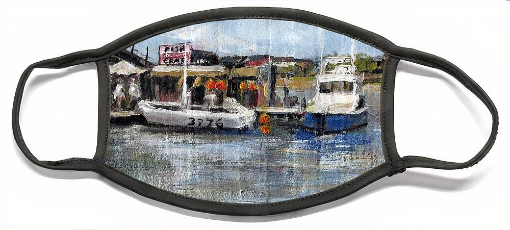 California Face Mask featuring the painting Pearson's Port Crab Shack by Randy Sprout