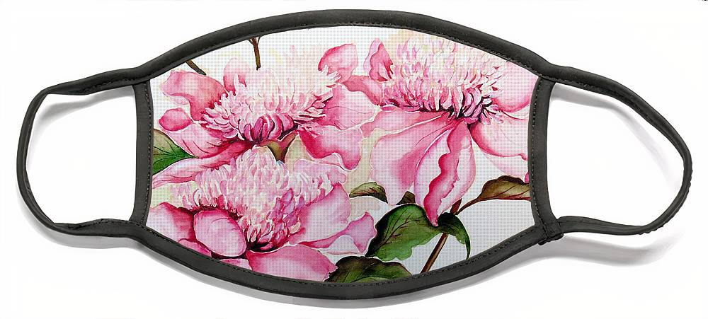 Flower Painting Flora Painting Pink Peonies Painting Botanical Painting Flower Painting Pink Painting Greeting Card Painting Pink Peonies Face Mask featuring the painting Peonies by Karin Dawn Kelshall- Best